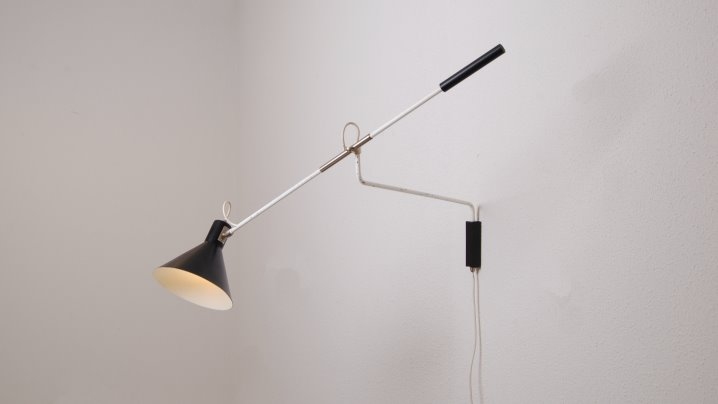 Modern Wall Lamp Design : anvia-holland-netherlands-wall-lamp-light-fifties-modern-modernist-lamp-design-black-shade ...